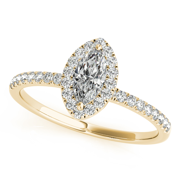 18K Yellow Gold Halo Engagement Ring by Overnight