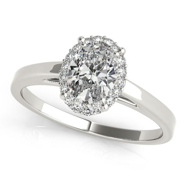 Diamond Engagement Rings 14k White Gold Oval Halo Ring