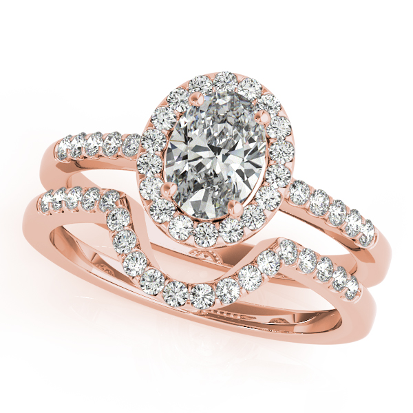 Engagement Rings - 14K Rose Gold Oval Halo Engagement Ring - image #3