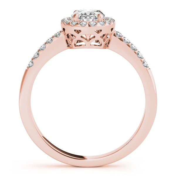 Diamond Engagement Rings - 14K Rose Gold Oval Halo Engagement Ring - image #2