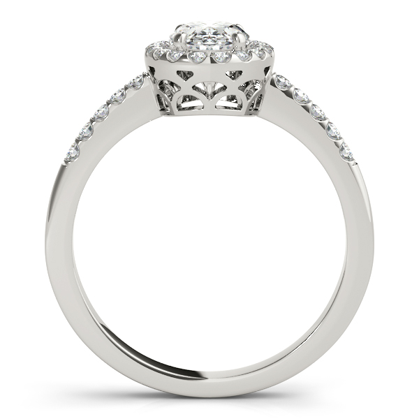 Diamond Engagement Rings - 18K White Gold Oval Halo Engagement Ring - image 2