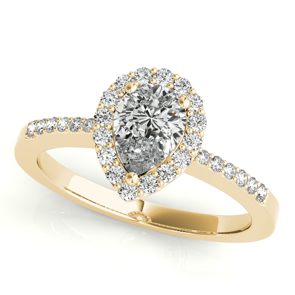 Diamond Engagement Rings - 18K Yellow Gold Pear Halo Engagement Ring