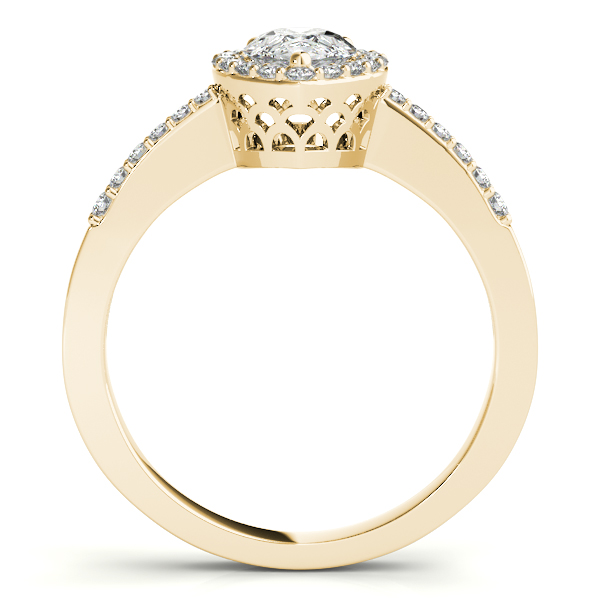 Diamond Engagement Rings - 18K Yellow Gold Pear Halo Engagement Ring - image #2