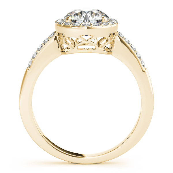 Diamond Engagement Rings - 10K Yellow Gold Round Halo Engagement Ring - image #2