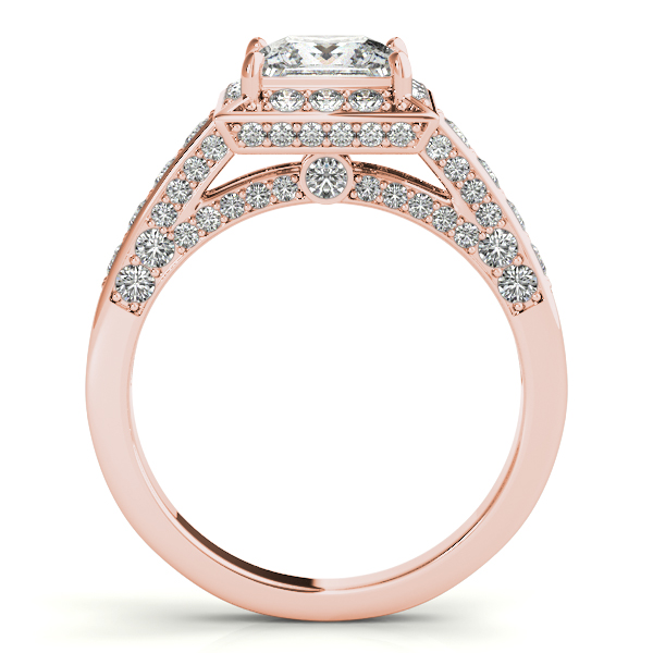 Diamond Engagement Rings - 18K Rose Gold Halo Engagement Ring - image #2