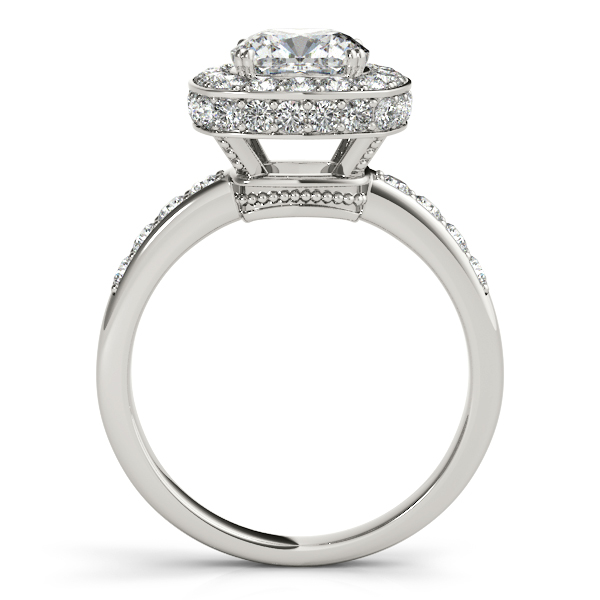 Diamond Engagement Rings - Platinum Halo Engagement Ring - image #2
