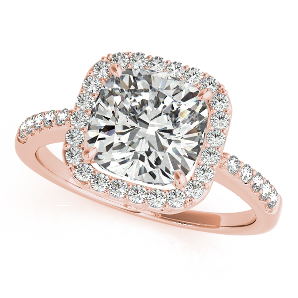 Diamond Engagement Rings - 14K Rose Gold Halo Engagement Ring