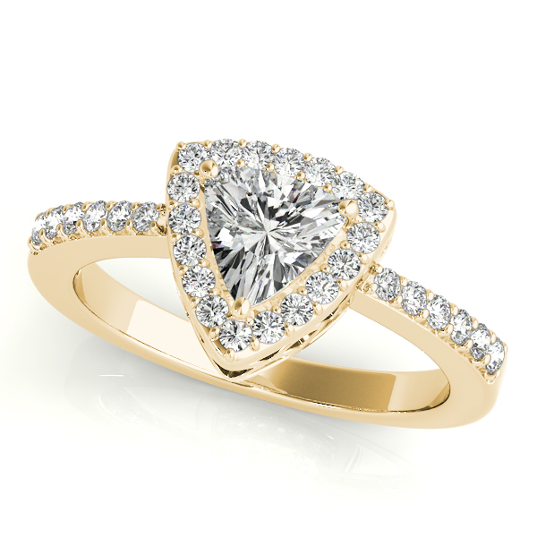 Diamond Engagement Rings - 14K Yellow Gold Pear Halo Engagement Ring