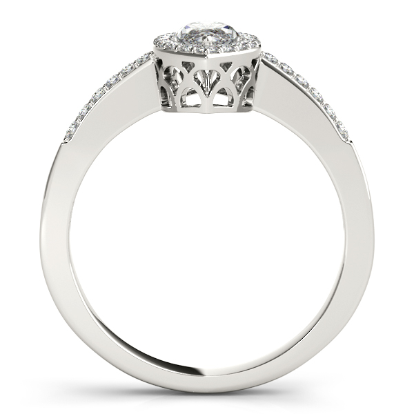 Rings - 14K White Gold Halo Engagement Ring - image 2