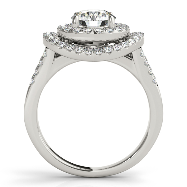 Engagement Rings - 10K White Gold Round Halo Engagement Ring - image #2