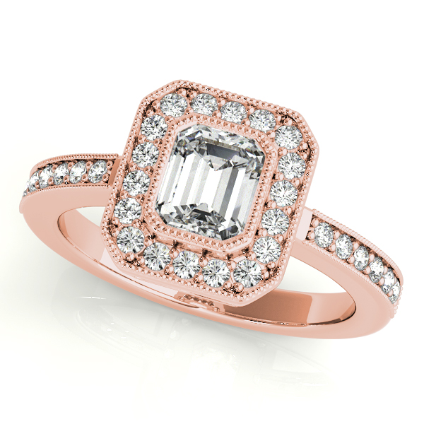 Diamond Engagement Rings - 10K Rose Gold Emerald Halo Engagement Ring