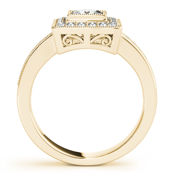 Rings - 18K Yellow Gold Halo Engagement Ring - image 2