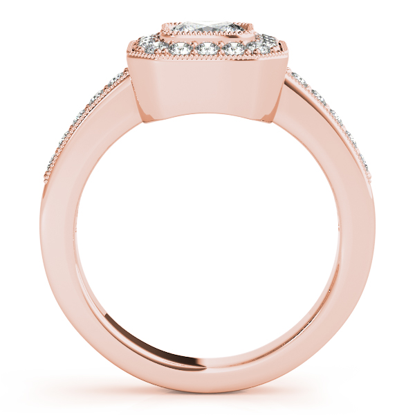 Engagement Rings - 18K Rose Gold Halo Engagement Ring - image #2