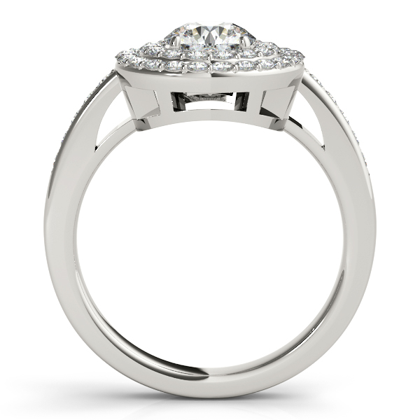 Rings - 10K White Gold Round Halo Engagement Ring - image #2