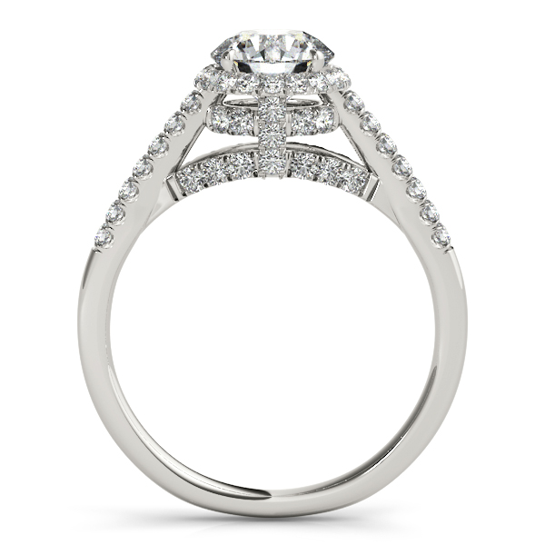 Diamond Engagement Rings - 18K White Gold Round Halo Engagement Ring - image 2