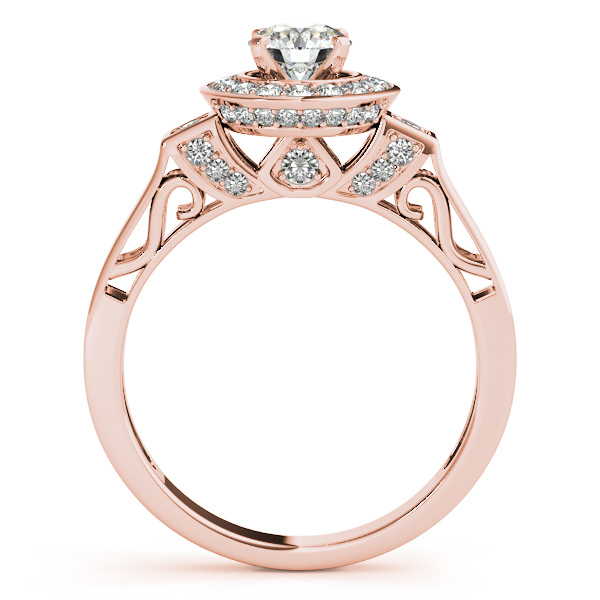 Rings - 10K Rose Gold Round Halo Engagement Ring - image #2