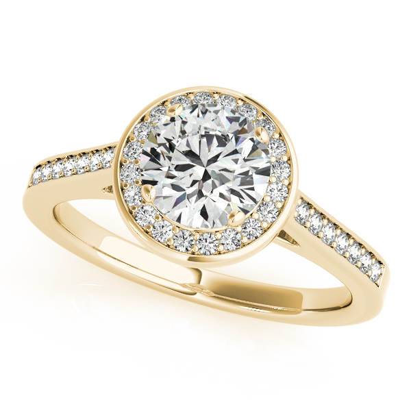 Engagement Rings - 18K Yellow Gold Round Halo Engagement Ring