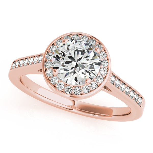 Diamond Engagement Rings - 18K Rose Gold Round Halo Engagement Ring