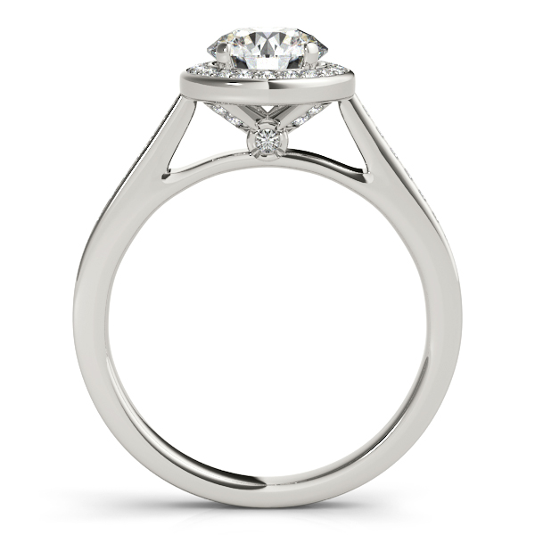 Diamond Engagement Rings - Platinum Round Halo Engagement Ring - image 2