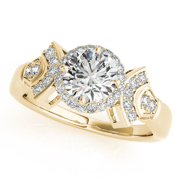 Engagement Rings - 10K Yellow Gold Round Halo Engagement Ring