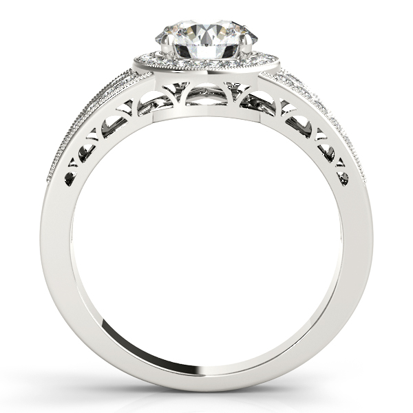 Diamond Engagement Rings - 14K White Gold Round Halo Engagement Ring - image #2