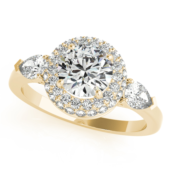 Engagement Rings - 14K Yellow Gold Round Halo Engagement Ring