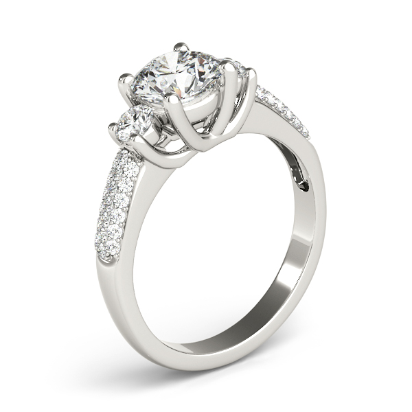 Engagement Rings - 18K White Gold Three-Stone Round Engagement Ring - image 3