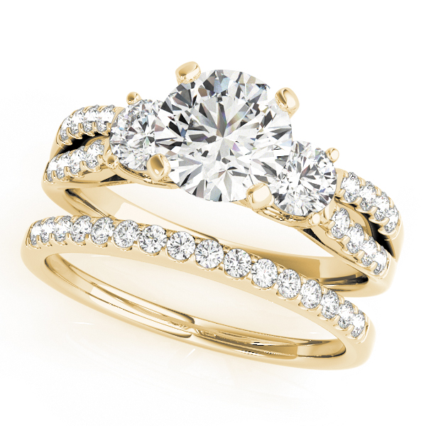 Diamond Engagement Rings - 10K Yellow Gold Three-Stone Round Engagement Ring - image #3