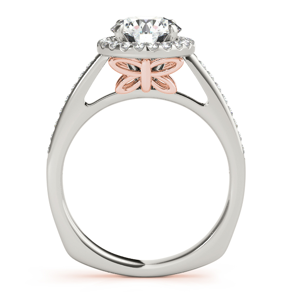 Diamond Engagement Rings - 18K Rose Gold Round Halo Engagement Ring - image 2