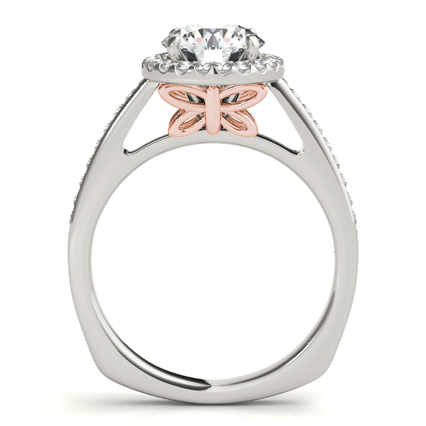 Rings - 14K White Gold Round Halo Engagement Ring - image 2