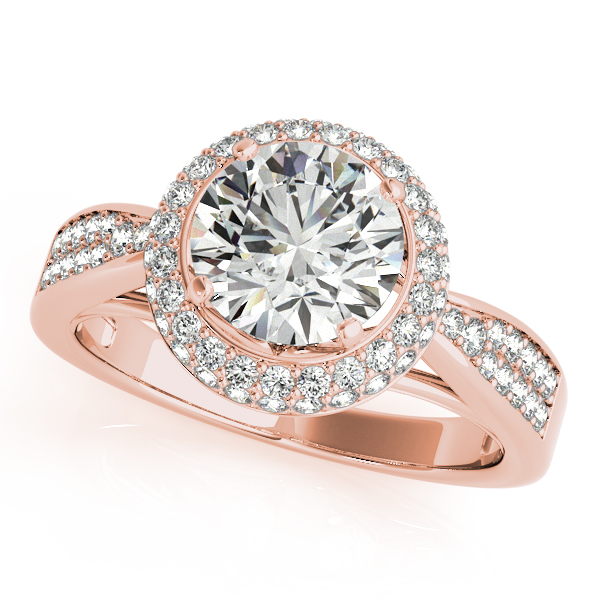 Rings - 18K Rose Gold Round Halo Engagement Ring