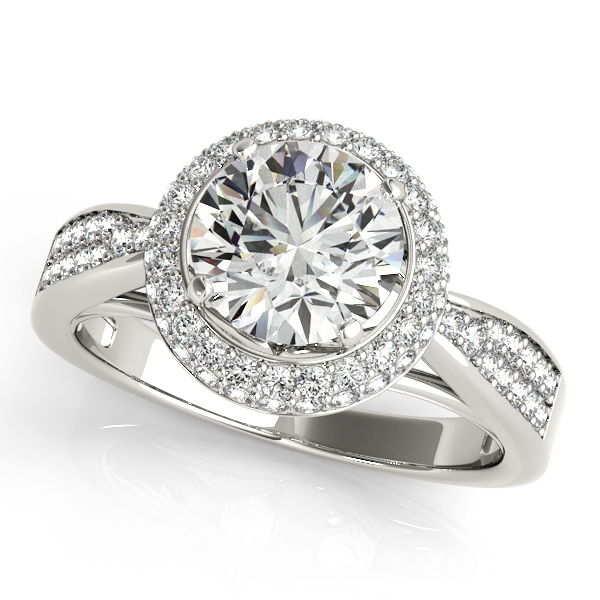 Rings - 10K White Gold Round Halo Engagement Ring