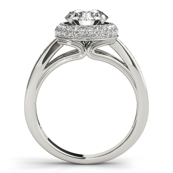 Rings - 10K White Gold Round Halo Engagement Ring - image 2