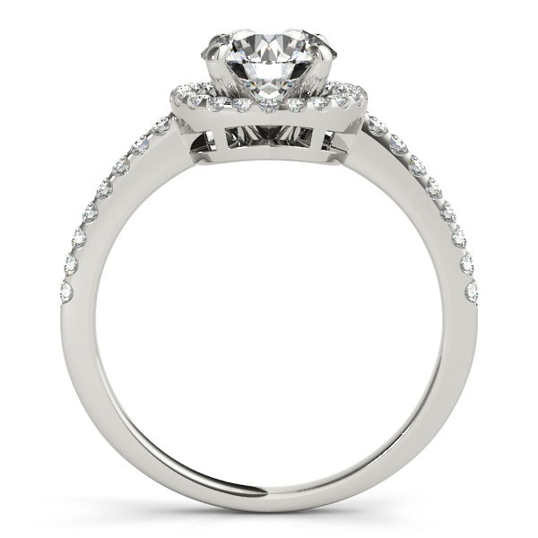 Diamond Engagement Rings - 14K White Gold Round Halo Engagement Ring - image 2