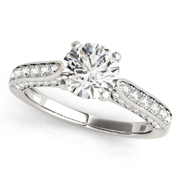 Diamond Engagement Rings - 18K White Gold Single Row Prong Engagement Ring