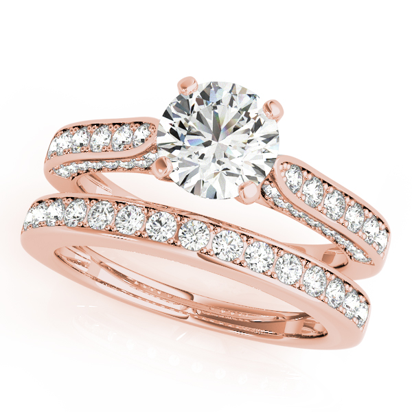 Diamond Engagement Rings - 18K Rose Gold Single Row Prong Engagement Ring - image #3