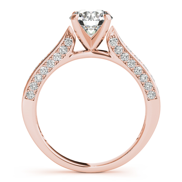 Diamond Engagement Rings - 18K Rose Gold Single Row Prong Engagement Ring - image #2
