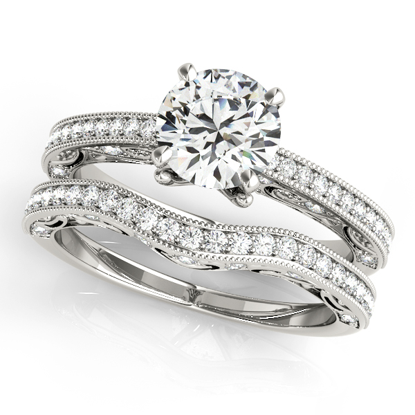 Diamond Engagement Rings - 18K White Gold Antique Engagement Ring - image #3