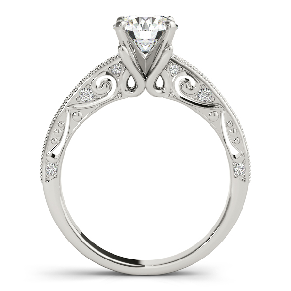 Diamond Engagement Rings - 18K White Gold Antique Engagement Ring - image #2