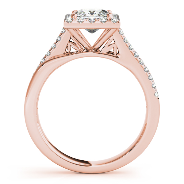 Rings - 18K Rose Gold Halo Engagement Ring - image 2