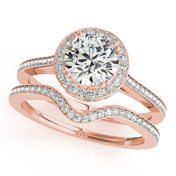 Diamond Engagement Rings - 14K Rose Gold Round Halo Engagement Ring - image #3