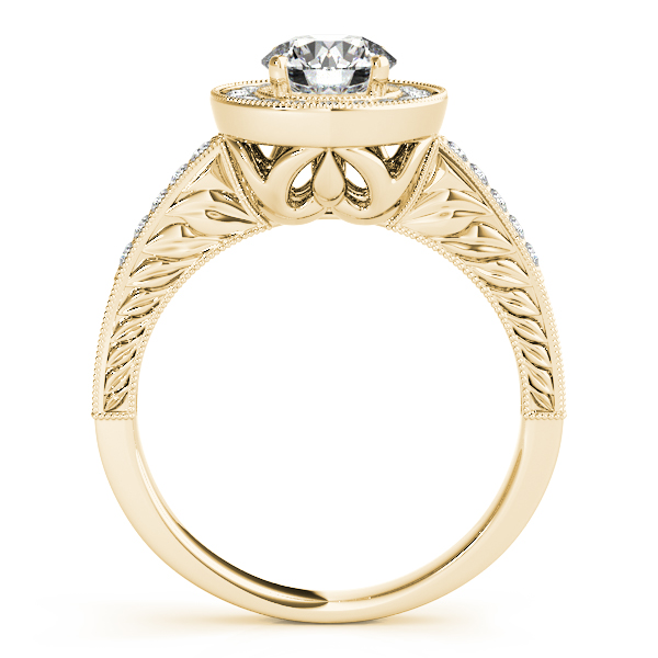 Rings - 18K Yellow Gold Round Halo Engagement Ring - image 2