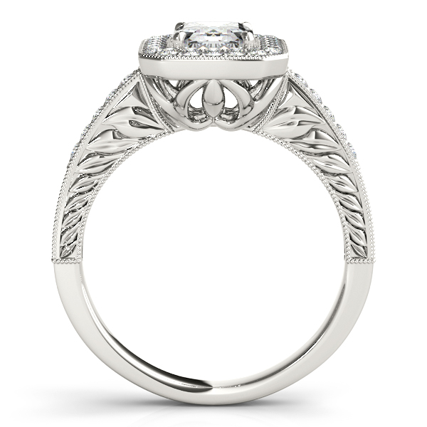 Rings - 18K White Gold Emerald Halo Engagement Ring - image 2