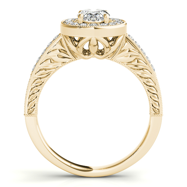 Diamond Engagement Rings - 18K Yellow Gold Oval Halo Engagement Ring - image #2
