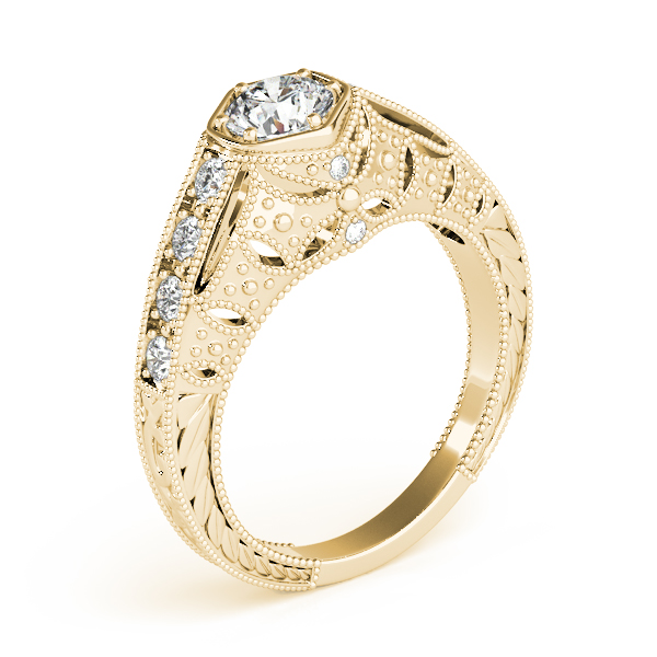 Rings - 18K Yellow Gold Antique Engagement Ring - image #3