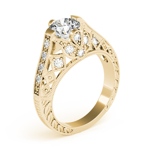 Diamond Engagement Rings - 18K Yellow Gold Antique Engagement Ring - image #3