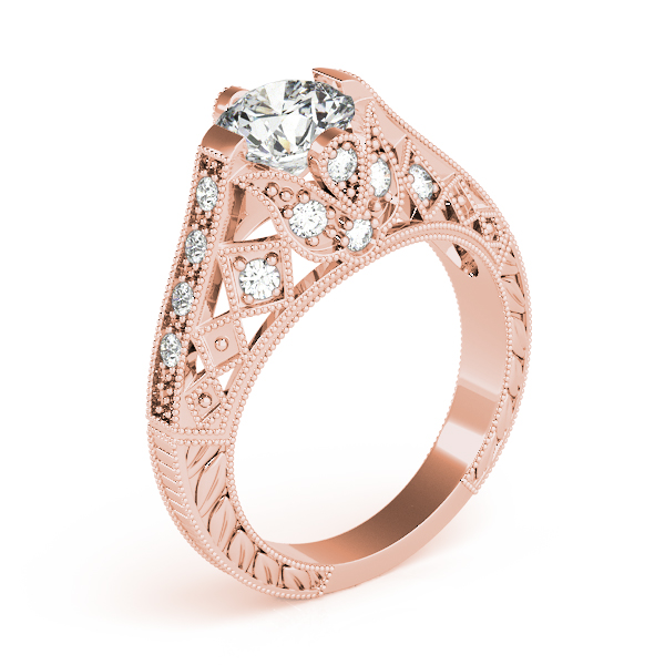 Diamond Engagement Rings - 14K Rose Gold Antique Engagement Ring - image #3