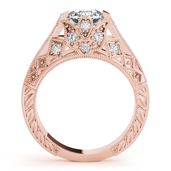 Diamond Engagement Rings - 14K Rose Gold Antique Engagement Ring - image #2