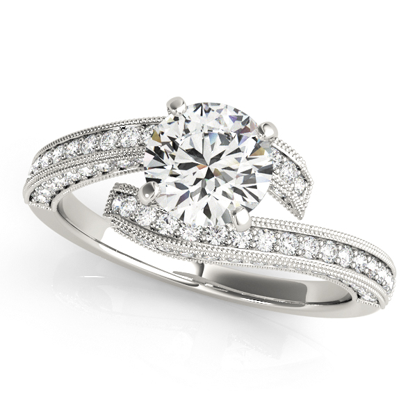 Rings - 10K White Gold Bypass-Style Engagement Ring