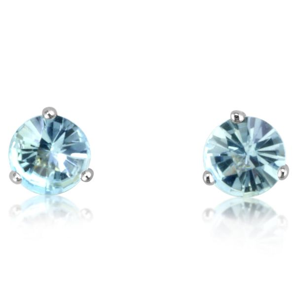 White Gold Aquamarine Earrings DeRobertis Jewelers West Hartford, CT